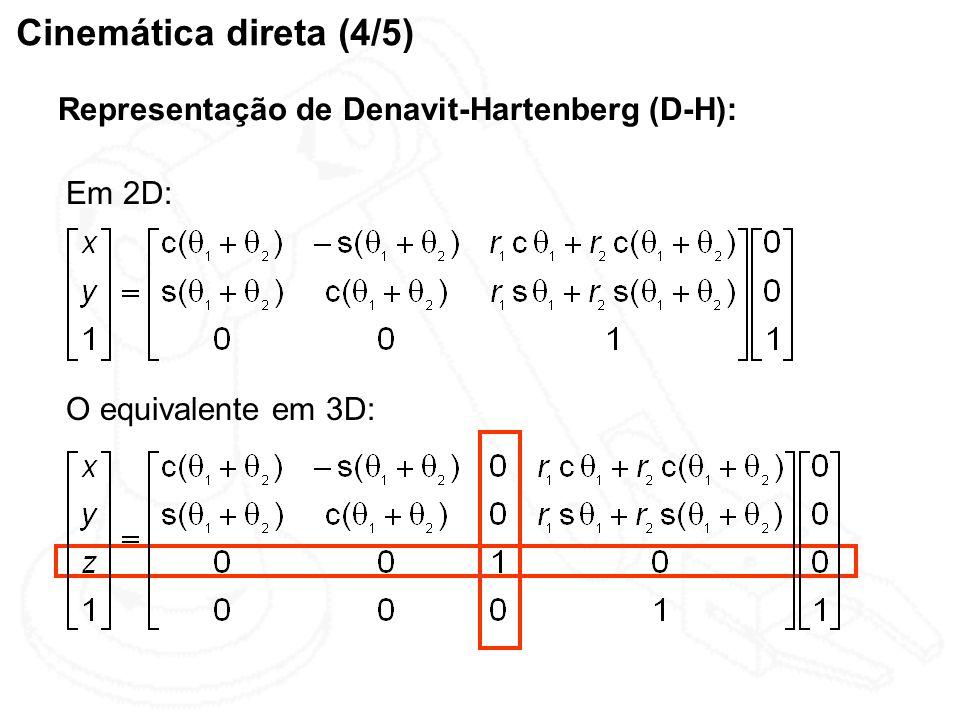 Cinemática direta (4/5) Representação de Denavit-Hartenberg (D-H): O equivalente em 3D: Em 2D: