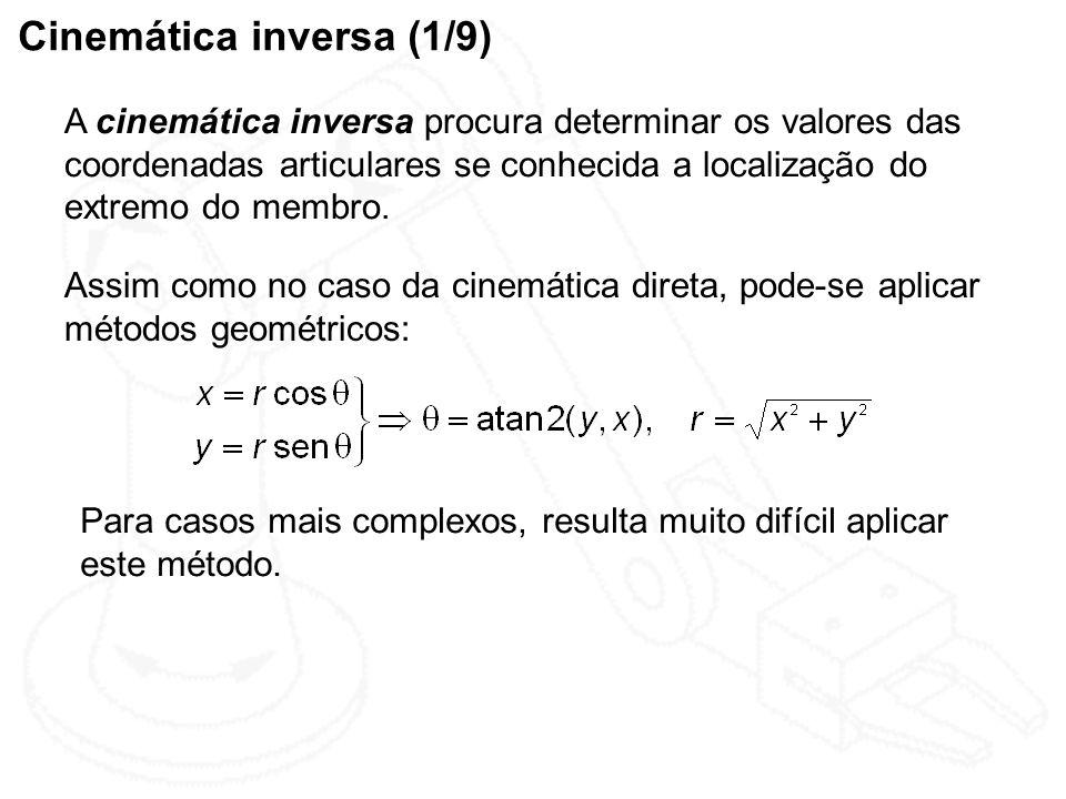 Cinemática inversa (1/9) A cinemática inversa procura determinar os valores das coordenadas articulares se conhecida a localização do extremo do membr