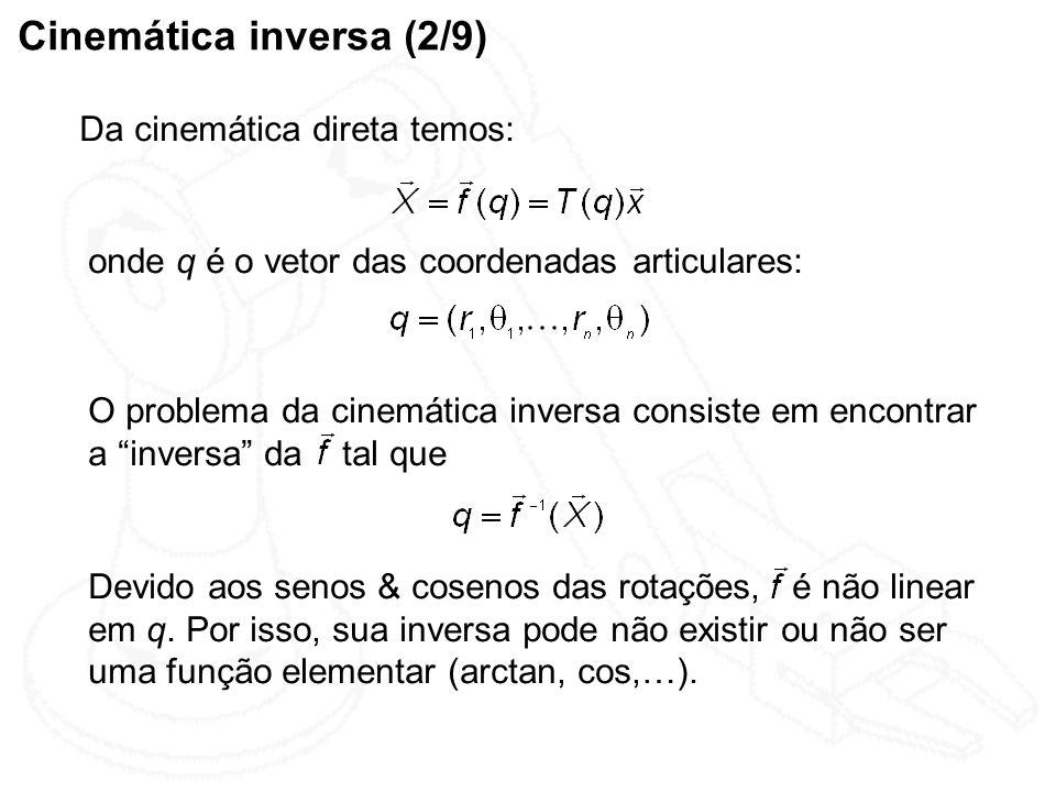 Cinemática inversa (2/9) Da cinemática direta temos: onde q é o vetor das coordenadas articulares: O problema da cinemática inversa consiste em encont