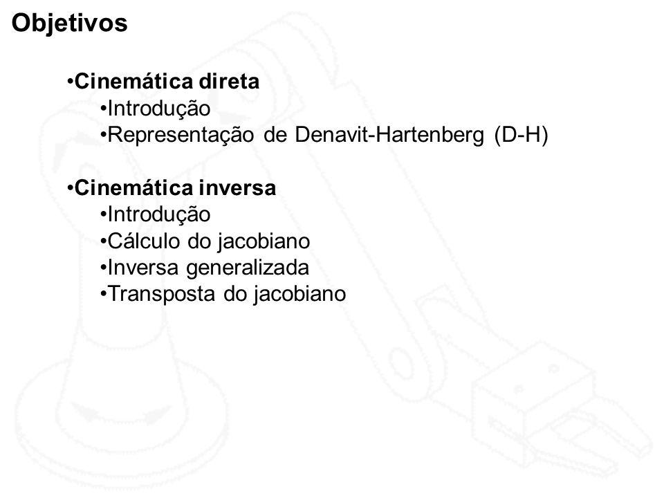 Objetivos Cinemática direta Introdução Representação de Denavit-Hartenberg (D-H) Cinemática inversa Introdução Cálculo do jacobiano Inversa generaliza