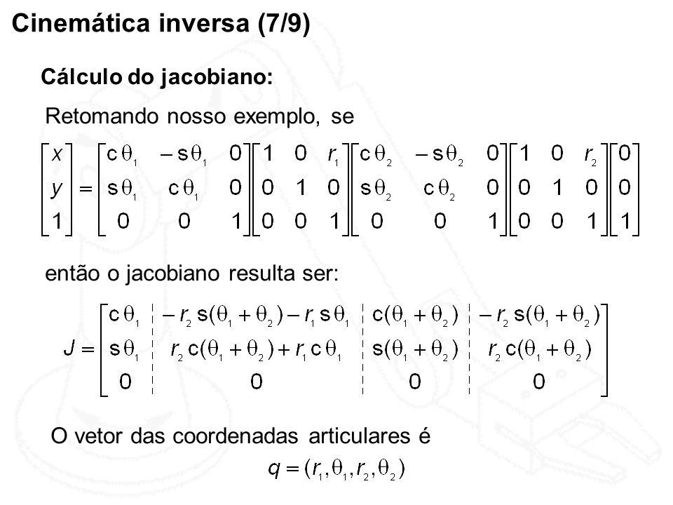 Cinemática inversa (7/9) Cálculo do jacobiano: Retomando nosso exemplo, se então o jacobiano resulta ser: O vetor das coordenadas articulares é
