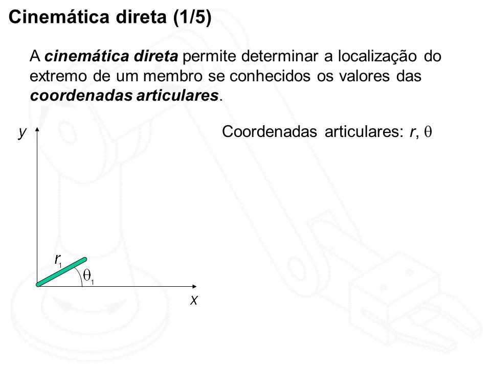 Cinemática direta (1/5) A cinemática direta permite determinar a localização do extremo de um membro se conhecidos os valores das coordenadas articula