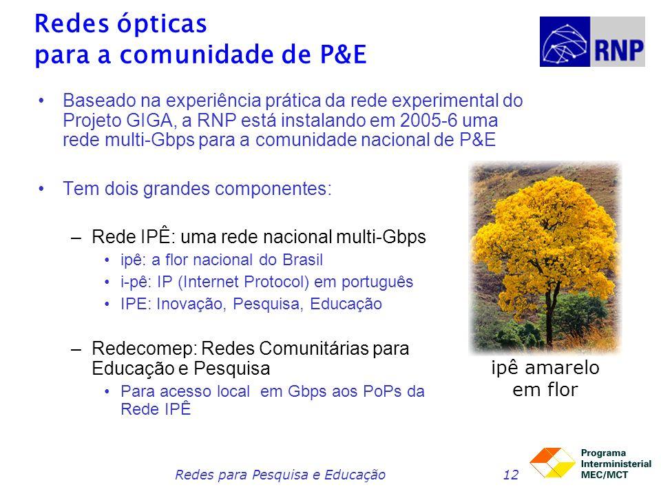 Redes para Pesquisa e Educação12 Redes ópticas para a comunidade de P&E Baseado na experiência prática da rede experimental do Projeto GIGA, a RNP está instalando em 2005-6 uma rede multi-Gbps para a comunidade nacional de P&E Tem dois grandes componentes: –Rede IPÊ: uma rede nacional multi-Gbps ipê: a flor nacional do Brasil i-pê: IP (Internet Protocol) em português IPE: Inovação, Pesquisa, Educação –Redecomep: Redes Comunitárias para Educação e Pesquisa Para acesso local em Gbps aos PoPs da Rede IPÊ ipê amarelo em flor