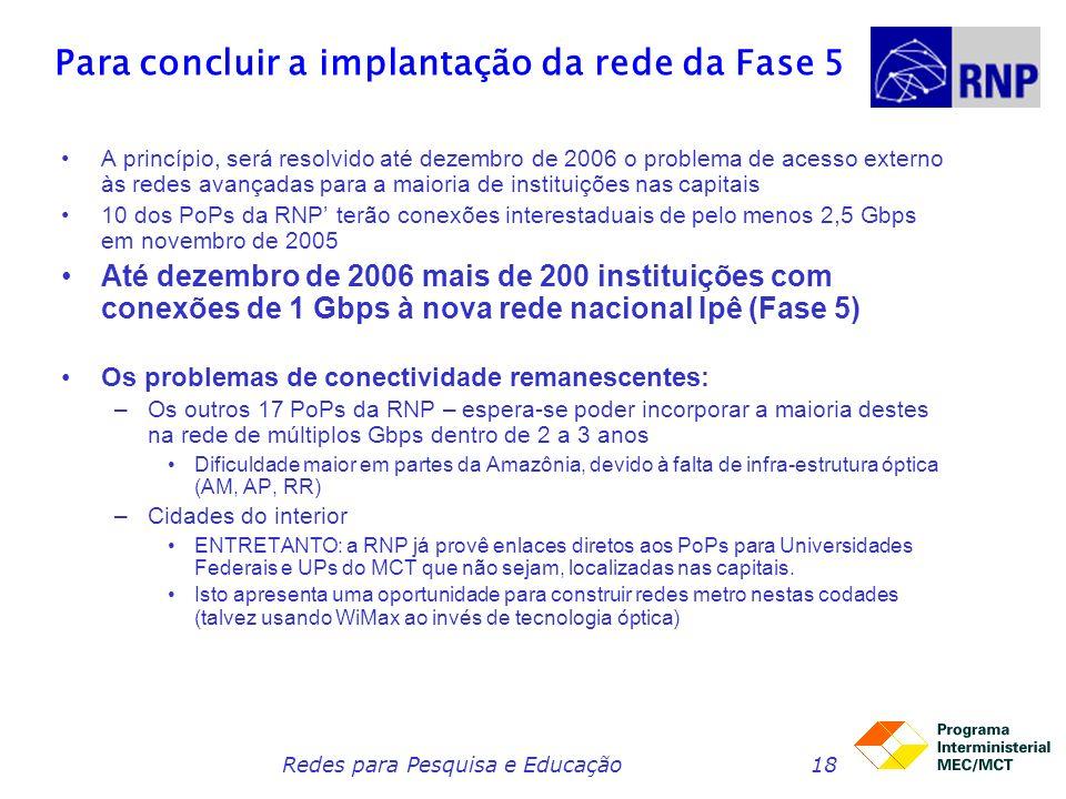 Redes para Pesquisa e Educação18 Para concluir a implantação da rede da Fase 5 A princípio, será resolvido até dezembro de 2006 o problema de acesso e