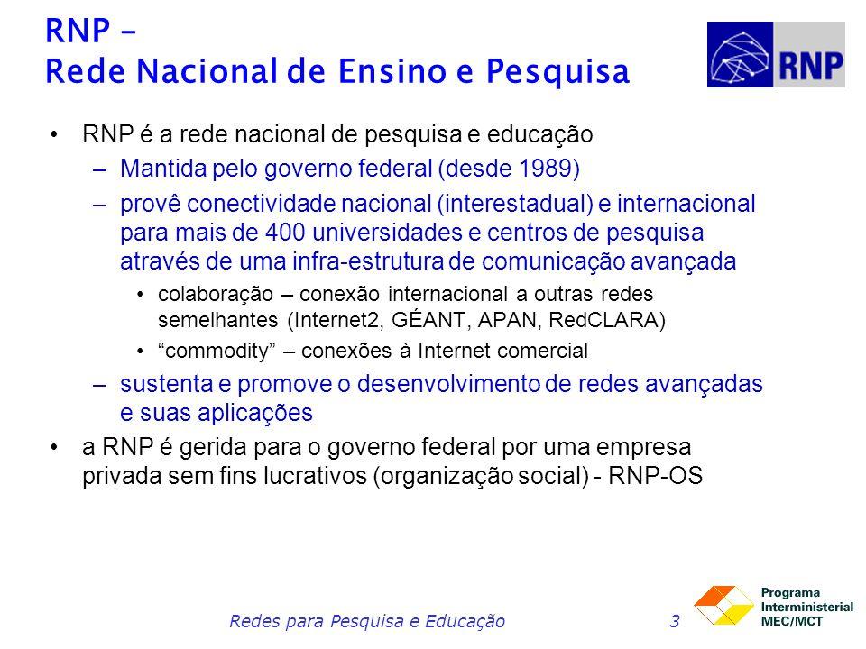 Redes para Pesquisa e Educação3 RNP – Rede Nacional de Ensino e Pesquisa RNP é a rede nacional de pesquisa e educação –Mantida pelo governo federal (desde 1989) –provê conectividade nacional (interestadual) e internacional para mais de 400 universidades e centros de pesquisa através de uma infra-estrutura de comunicação avançada colaboração – conexão internacional a outras redes semelhantes (Internet2, GÉANT, APAN, RedCLARA) commodity – conexões à Internet comercial –sustenta e promove o desenvolvimento de redes avançadas e suas aplicações a RNP é gerida para o governo federal por uma empresa privada sem fins lucrativos (organização social) - RNP-OS