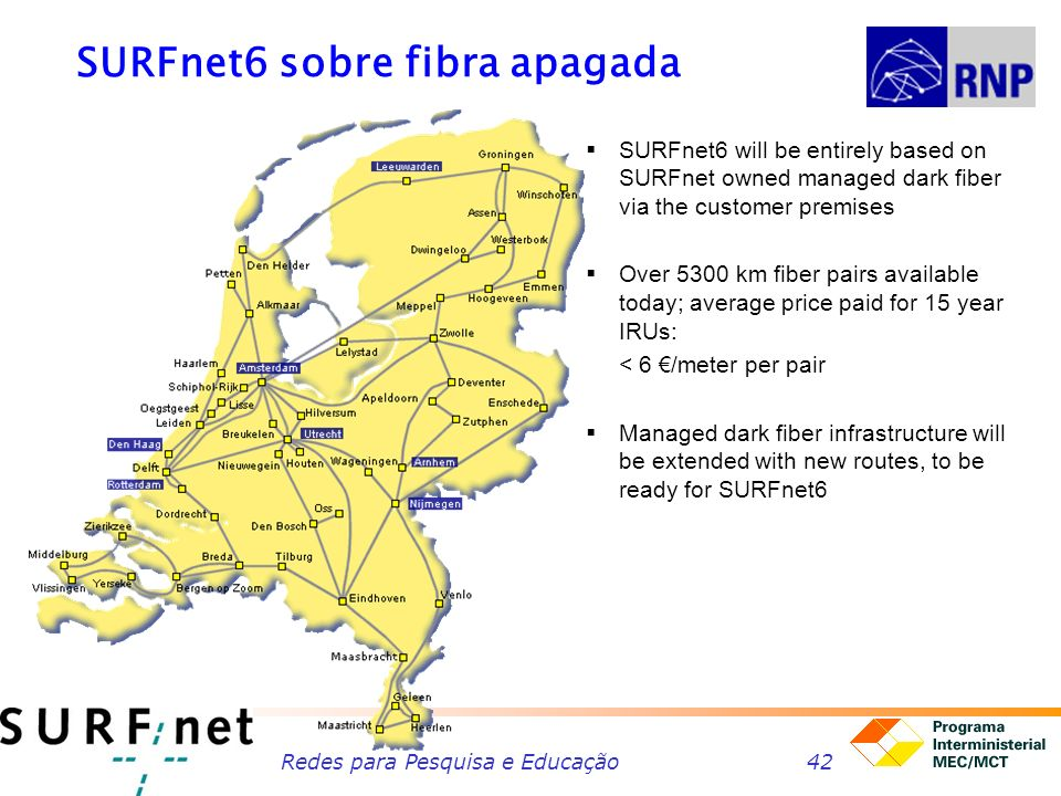 Redes para Pesquisa e Educação42 SURFnet6 sobre fibra apagada SURFnet6 will be entirely based on SURFnet owned managed dark fiber via the customer premises Over 5300 km fiber pairs available today; average price paid for 15 year IRUs: < 6 /meter per pair Managed dark fiber infrastructure will be extended with new routes, to be ready for SURFnet6