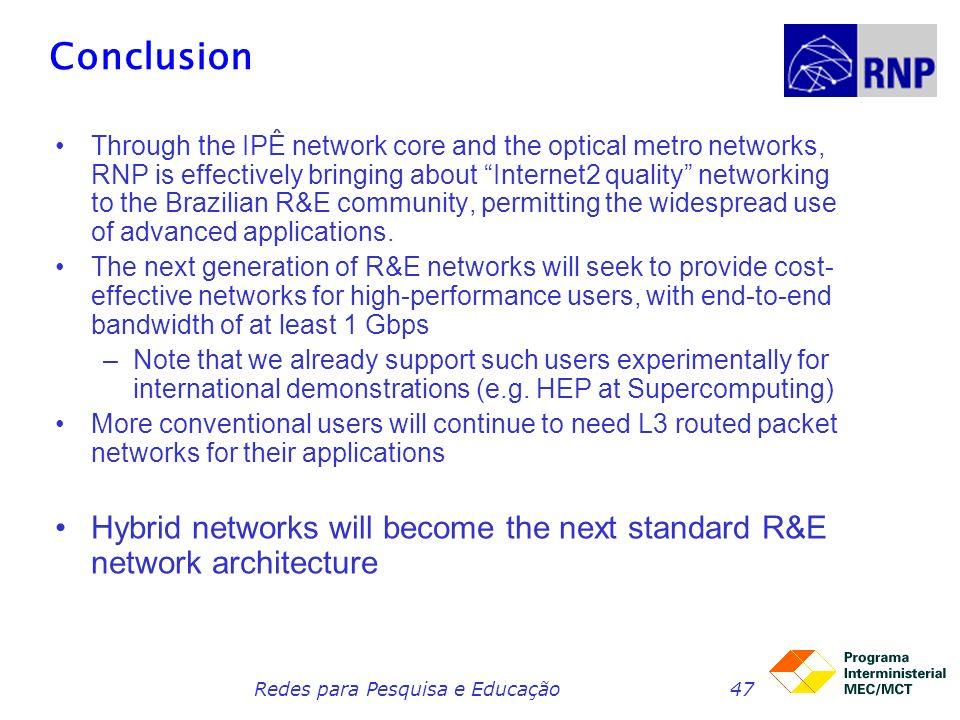 Redes para Pesquisa e Educação47 Conclusion Through the IPÊ network core and the optical metro networks, RNP is effectively bringing about Internet2 q