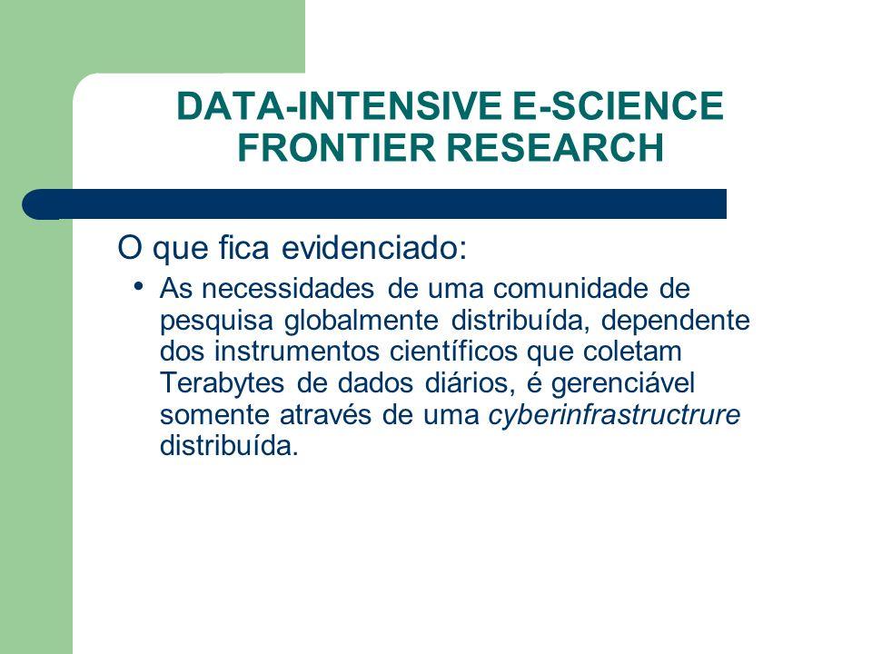 DATA-INTENSIVE E-SCIENCE FRONTIER RESEARCH O que fica evidenciado: As necessidades de uma comunidade de pesquisa globalmente distribuída, dependente dos instrumentos científicos que coletam Terabytes de dados diários, é gerenciável somente através de uma cyberinfrastructrure distribuída.