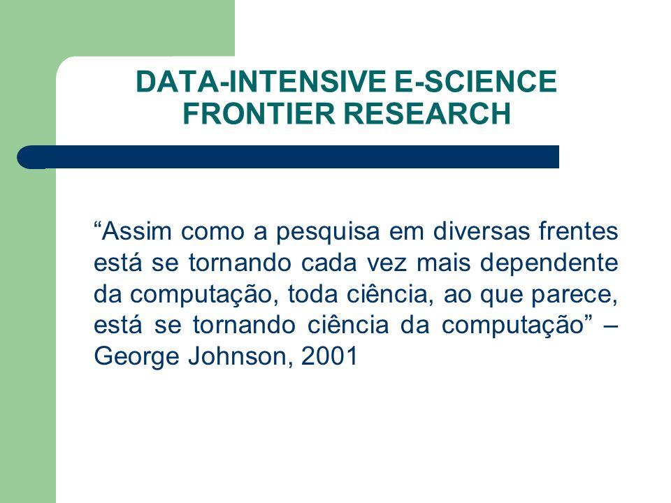 DATA-INTENSIVE E-SCIENCE FRONTIER RESEARCH Assim como a pesquisa em diversas frentes está se tornando cada vez mais dependente da computação, toda ciência, ao que parece, está se tornando ciência da computação – George Johnson, 2001