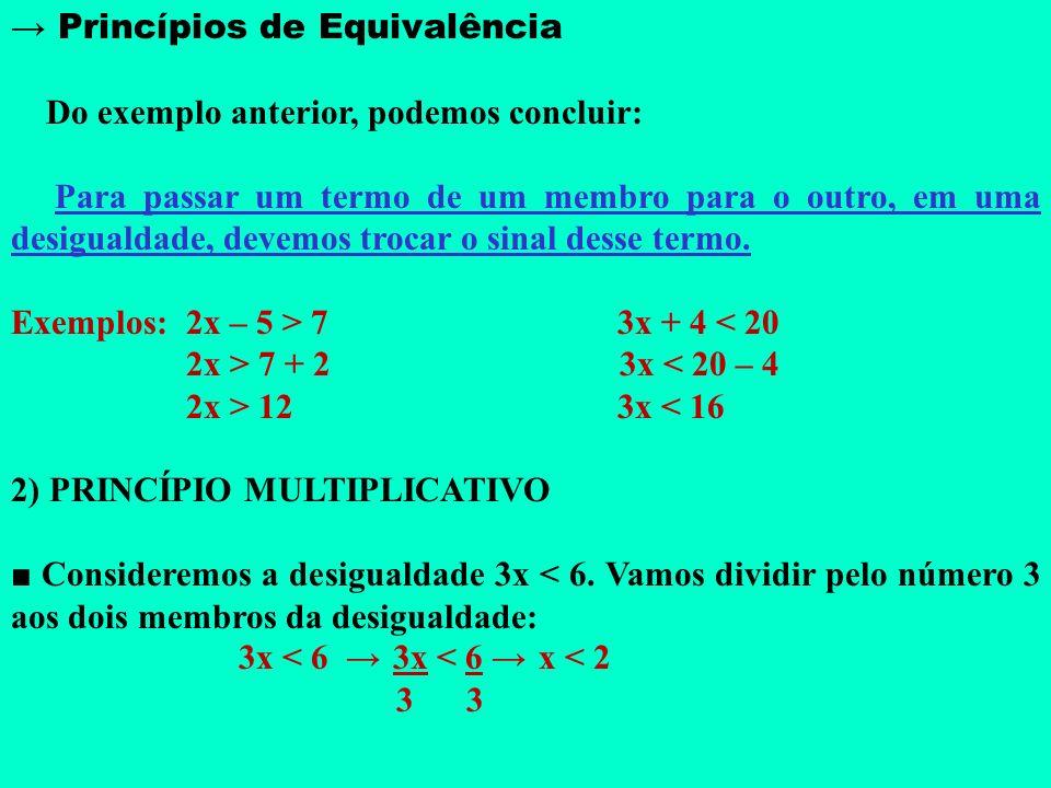 Princípios de Equivalência 1) PRINCÍPIO ADITIVO Consideremos a desigualdade x – 1 < 6. Vamos adicionar o número 1 aos dois membros da desigualdade: x