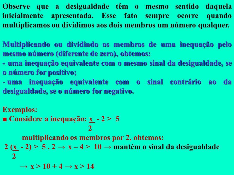 Princípios de Equivalência Do exemplo anterior, podemos concluir: Para passar um termo de um membro para o outro, em uma desigualdade, devemos trocar