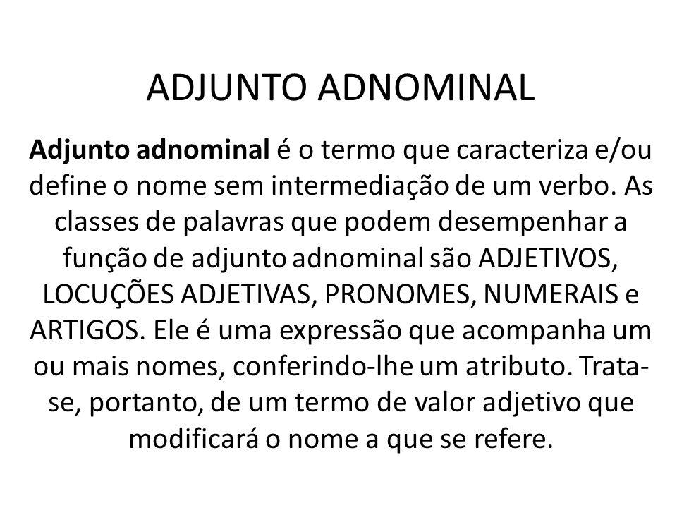 ADJUNTO ADNOMINAL Adjunto adnominal é o termo que caracteriza e/ou define o nome sem intermediação de um verbo. As classes de palavras que podem desem