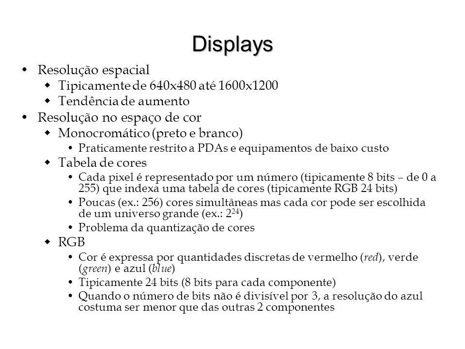 Displays Resolução espacial Tipicamente de 640x480 até 1600x1200 Tendência de aumento Resolução no espaço de cor Monocromático (preto e branco) Pratic