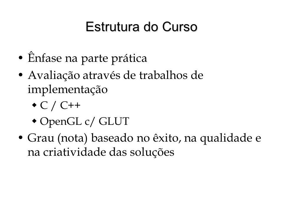 Estrutura do Curso Ênfase na parte prática Avaliação através de trabalhos de implementação C / C++ OpenGL c/ GLUT Grau (nota) baseado no êxito, na qua