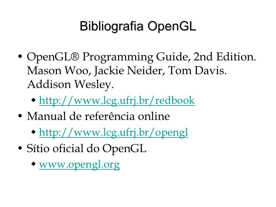 Bibliografia OpenGL OpenGL® Programming Guide, 2nd Edition. Mason Woo, Jackie Neider, Tom Davis. Addison Wesley. http://www.lcg.ufrj.br/redbook Manual