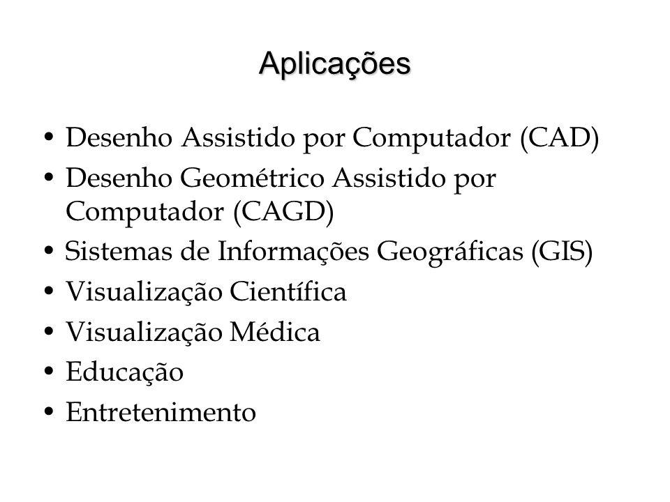 Aplicações Desenho Assistido por Computador (CAD) Desenho Geométrico Assistido por Computador (CAGD) Sistemas de Informações Geográficas (GIS) Visuali