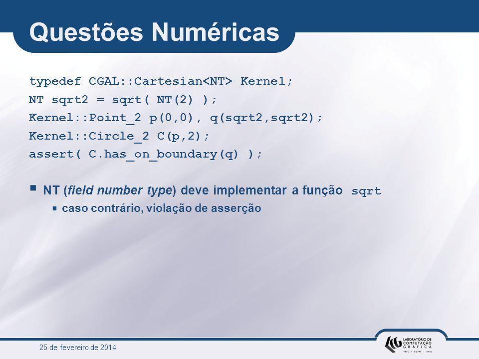 25 de fevereiro de 2014 Questões Numéricas typedef CGAL::Cartesian Kernel; NT sqrt2 = sqrt( NT(2) ); Kernel::Point_2 p(0,0), q(sqrt2,sqrt2); Kernel::C