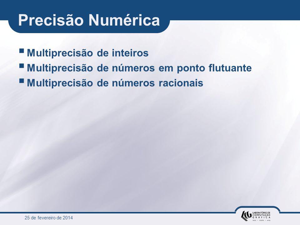 25 de fevereiro de 2014 Precisão Numérica Multiprecisão de inteiros Multiprecisão de números em ponto flutuante Multiprecisão de números racionais
