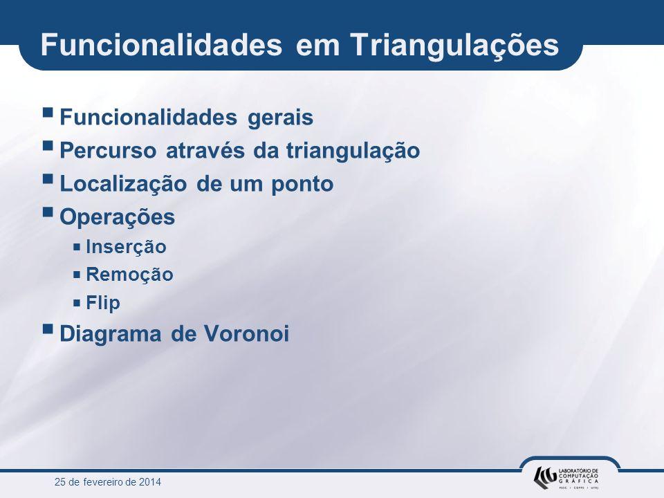 25 de fevereiro de 2014 Funcionalidades em Triangulações Funcionalidades gerais Percurso através da triangulação Localização de um ponto Operações Ins