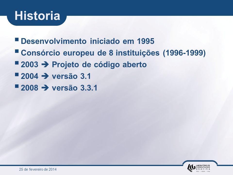 25 de fevereiro de 2014 Historia Desenvolvimento iniciado em 1995 Consórcio europeu de 8 instituições (1996-1999) 2003 Projeto de código aberto 2004 v