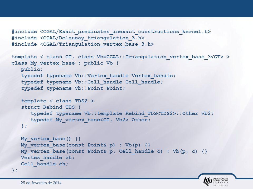 25 de fevereiro de 2014 #include template > class My_vertex_base : public Vb { public: typedef typename Vb::Vertex_handle Vertex_handle; typedef typen