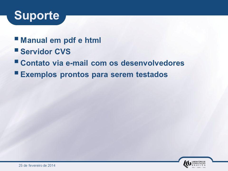 25 de fevereiro de 2014 Suporte Manual em pdf e html Servidor CVS Contato via e-mail com os desenvolvedores Exemplos prontos para serem testados