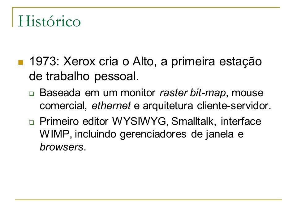Histórico 1973: Xerox cria o Alto, a primeira estação de trabalho pessoal. Baseada em um monitor raster bit-map, mouse comercial, ethernet e arquitetu