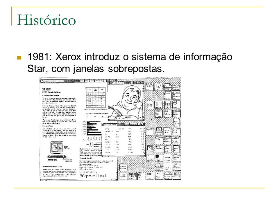 Histórico 1981: Xerox introduz o sistema de informação Star, com janelas sobrepostas.