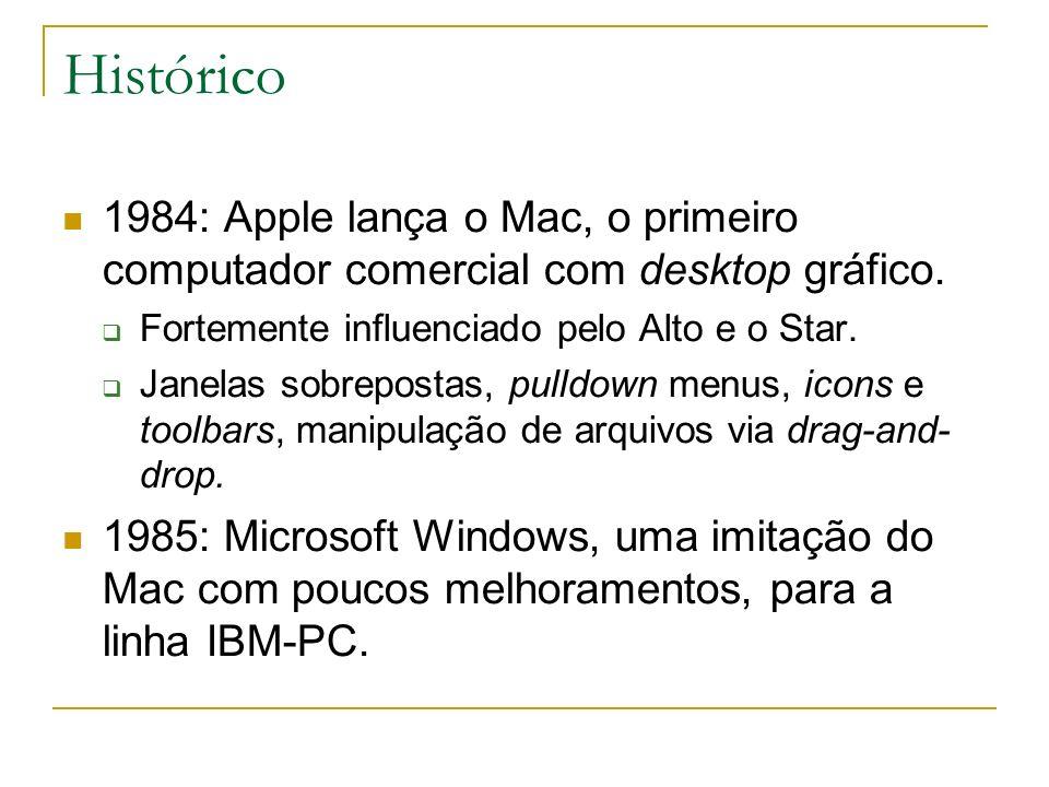 Histórico 1984: Apple lança o Mac, o primeiro computador comercial com desktop gráfico. Fortemente influenciado pelo Alto e o Star. Janelas sobreposta