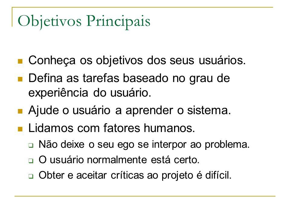 Objetivos Principais Conheça os objetivos dos seus usuários. Defina as tarefas baseado no grau de experiência do usuário. Ajude o usuário a aprender o