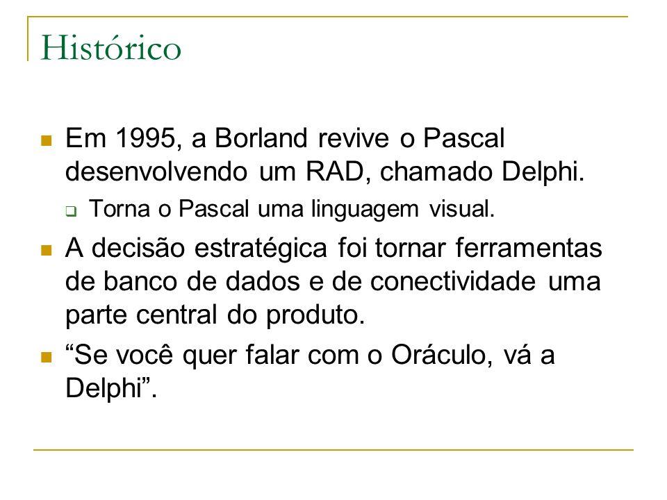 Histórico Em 1995, a Borland revive o Pascal desenvolvendo um RAD, chamado Delphi. Torna o Pascal uma linguagem visual. A decisão estratégica foi torn