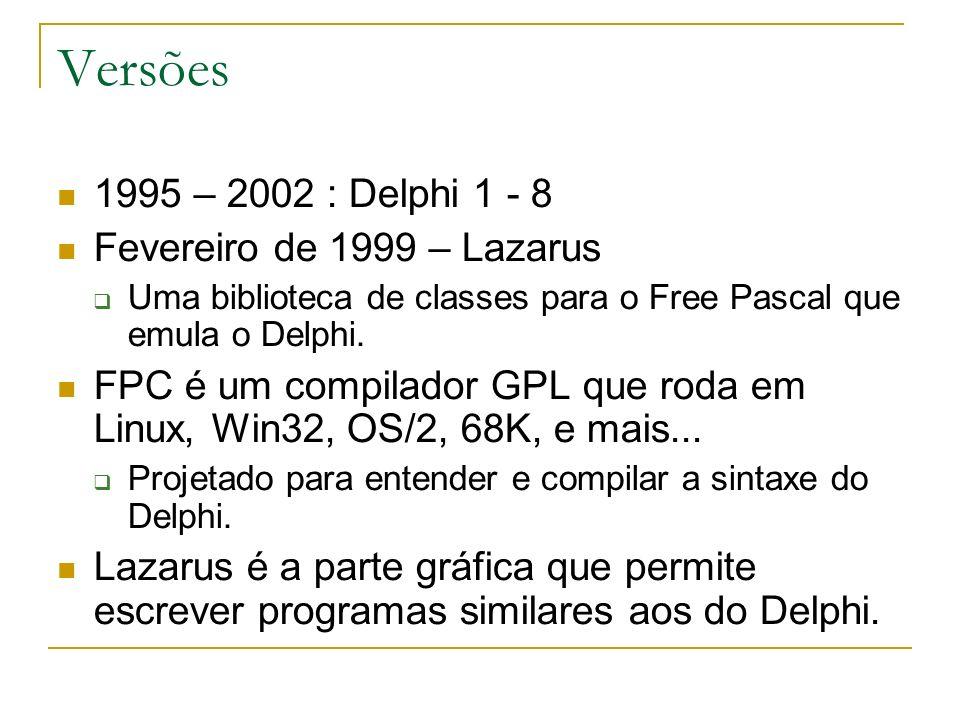 Versões 1995 – 2002 : Delphi 1 - 8 Fevereiro de 1999 – Lazarus Uma biblioteca de classes para o Free Pascal que emula o Delphi. FPC é um compilador GP