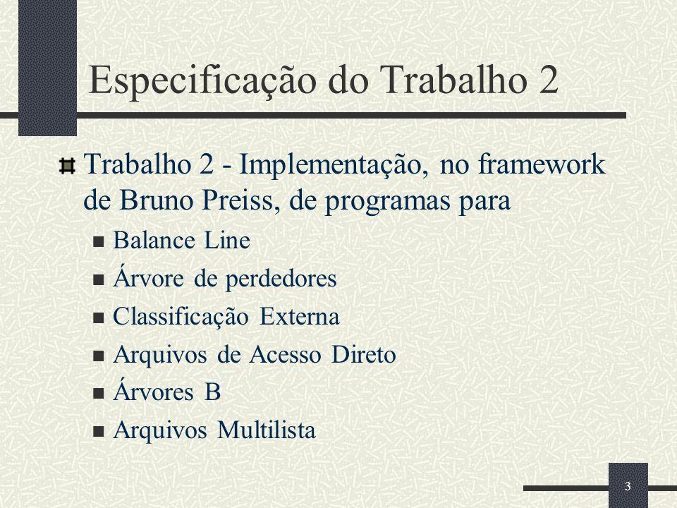 3 Especificação do Trabalho 2 Trabalho 2 - Implementação, no framework de Bruno Preiss, de programas para Balance Line Árvore de perdedores Classificação Externa Arquivos de Acesso Direto Árvores B Arquivos Multilista