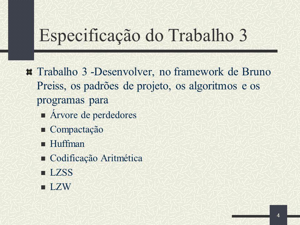 4 Especificação do Trabalho 3 Trabalho 3 -Desenvolver, no framework de Bruno Preiss, os padrões de projeto, os algoritmos e os programas para Árvore de perdedores Compactação Huffman Codificação Aritmética LZSS LZW