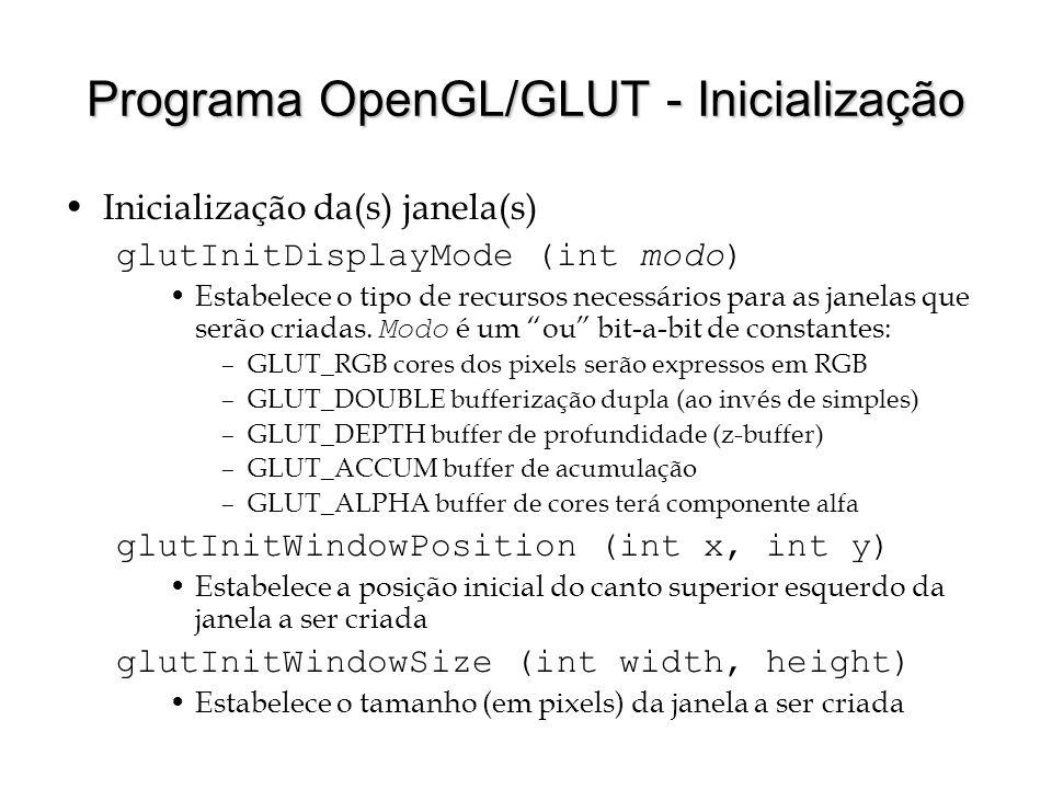 Programa OpenGL/GLUT - Inicialização Inicialização da(s) janela(s) glutInitDisplayMode (int modo) Estabelece o tipo de recursos necessários para as ja