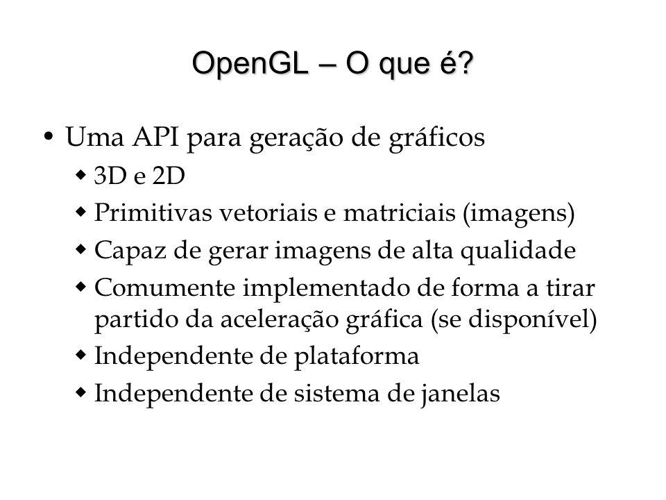 OpenGL – O que é? Uma API para geração de gráficos 3D e 2D Primitivas vetoriais e matriciais (imagens) Capaz de gerar imagens de alta qualidade Comume