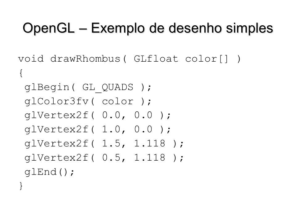 OpenGL – Exemplo de desenho simples void drawRhombus( GLfloat color[] ) { glBegin( GL_QUADS ); glColor3fv( color ); glVertex2f( 0.0, 0.0 ); glVertex2f