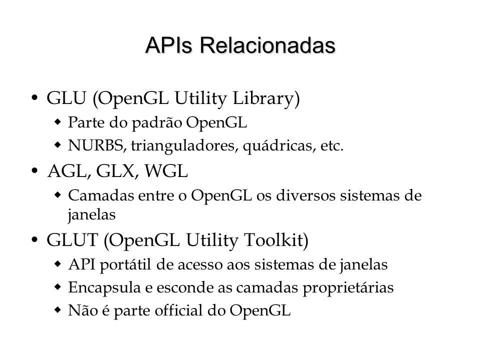 APIs Relacionadas GLU (OpenGL Utility Library) Parte do padrão OpenGL NURBS, trianguladores, quádricas, etc. AGL, GLX, WGL Camadas entre o OpenGL os d