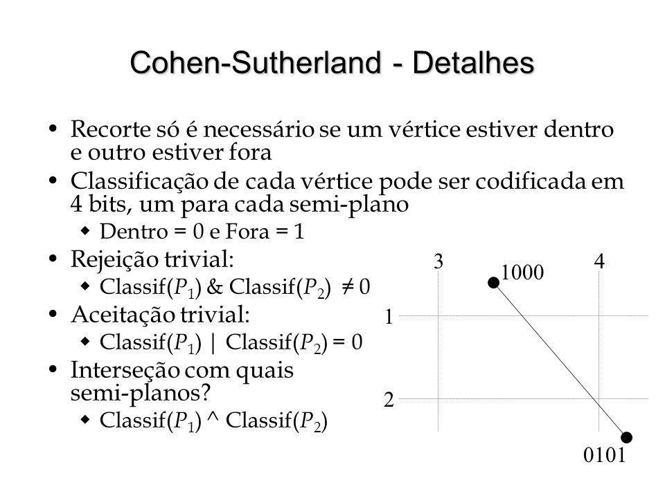Cohen-Sutherland - Detalhes Recorte só é necessário se um vértice estiver dentro e outro estiver fora Classificação de cada vértice pode ser codificad