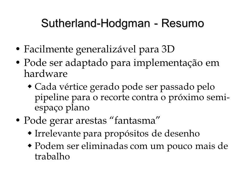 Sutherland-Hodgman - Resumo Facilmente generalizável para 3D Pode ser adaptado para implementação em hardware Cada vértice gerado pode ser passado pel