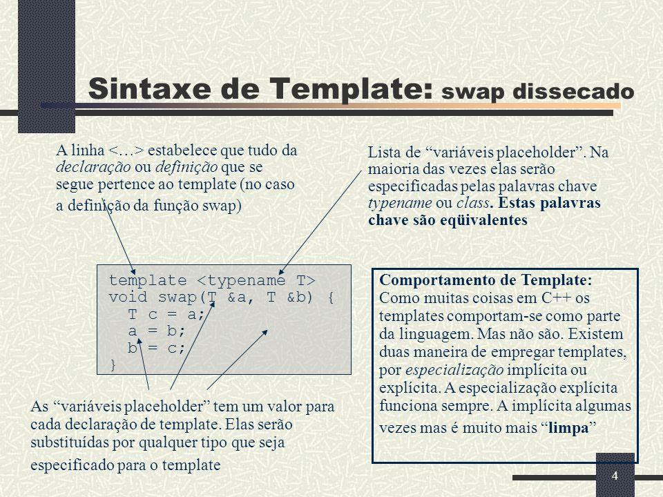 4 Sintaxe de Template: swap dissecado template void swap(T &a, T &b) { T c = a; a = b; b = c; } A linha estabelece que tudo da declaração ou definição