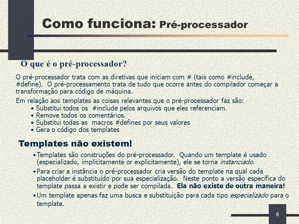 8 Como funciona: Pré-processador O que é o pré-processador? O pré-processador trata com as diretivas que iniciam com # (tais como #include, #define).