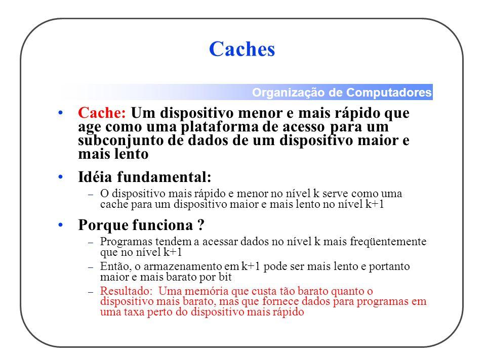 Organização de Computadores Caches Cache: Um dispositivo menor e mais rápido que age como uma plataforma de acesso para um subconjunto de dados de um