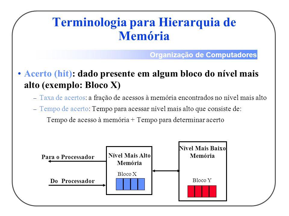 Organização de Computadores Acerto (hit): dado presente em algum bloco do nível mais alto (exemplo: Bloco X) – Taxa de acertos: a fração de acessos à