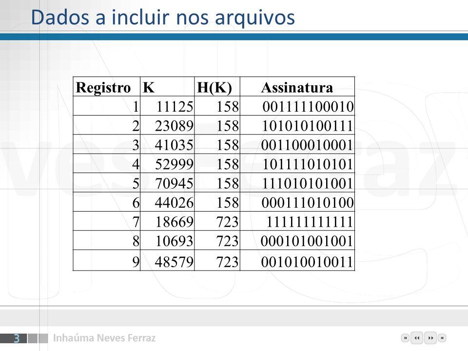 Dados a incluir nos arquivos RegistroKH(K)Assinatura 111125158001111100010 223089158101010100111 341035158001100010001 452999158101111010101 570945158