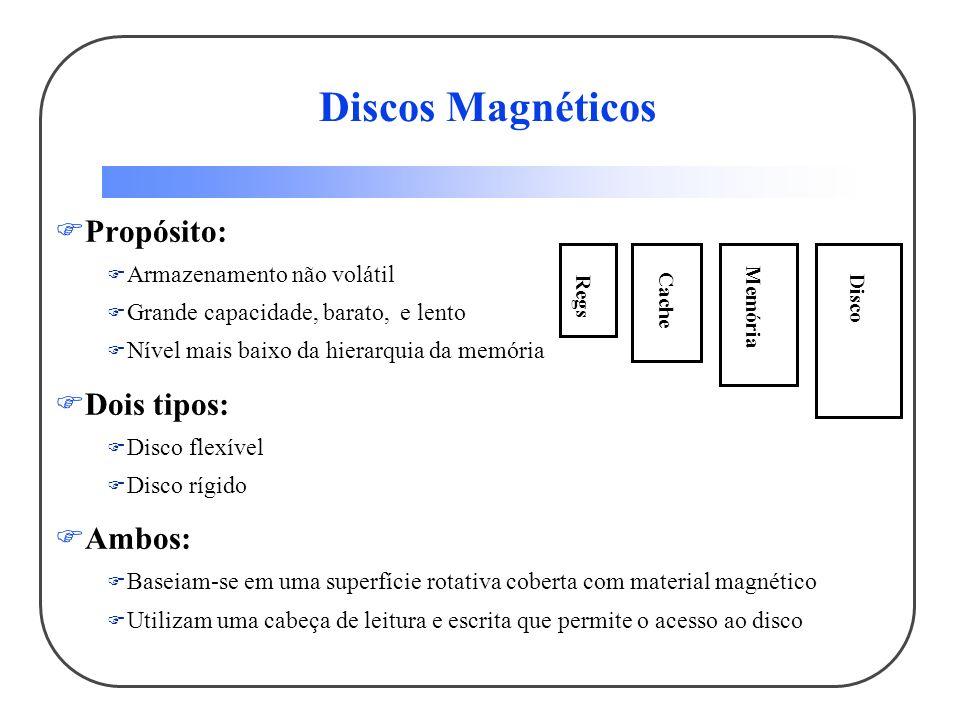 Vantagens dos discos rígidos sobre os flexíveis: Superfície mais rígida ( metal ou fibra) então podem ser maiores Maior densidade porque pode ser controlado mais precisamente Maior taxa de transferência de dados porque roda mais rápido Pode ter mais de uma superfície Discos Magnéticos