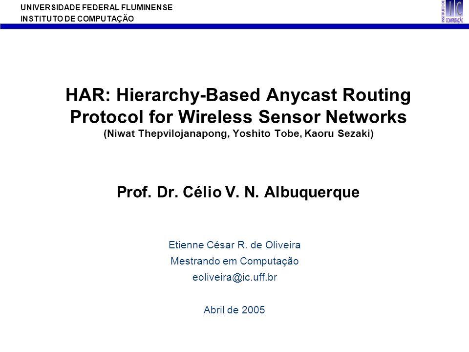 UNIVERSIDADE FEDERAL FLUMINENSE INSTITUTO DE COMPUTAÇÃO HAR: Hierarchy-Based Anycast Routing Protocol for Wireless Sensor Networks (Niwat Thepvilojana