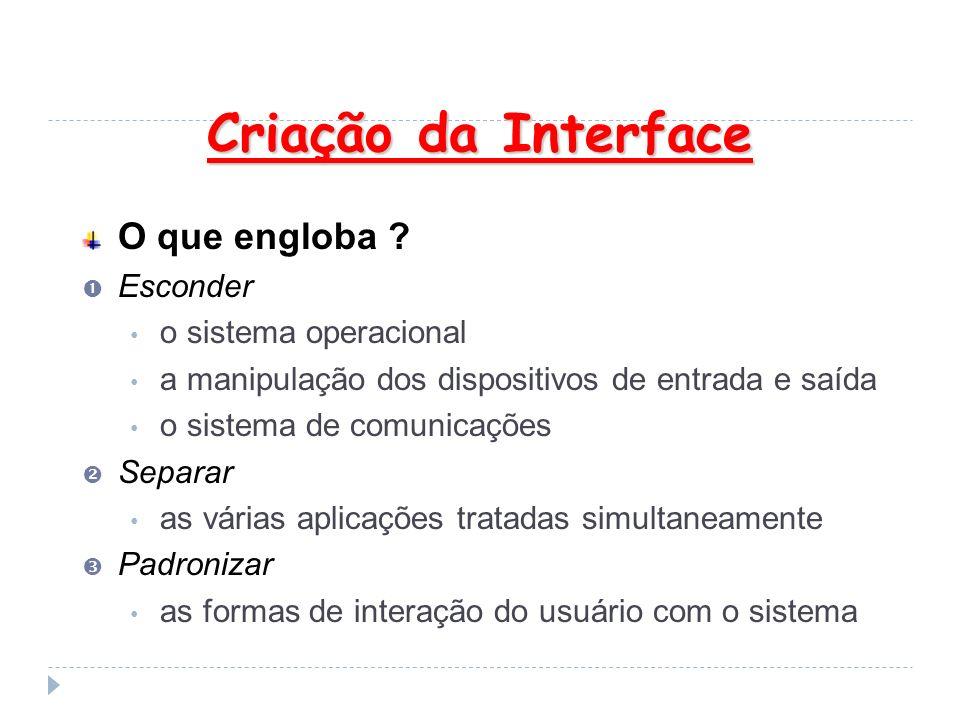 Criação da Interface O que engloba ? Esconder o sistema operacional a manipulação dos dispositivos de entrada e saída o sistema de comunicações Separa
