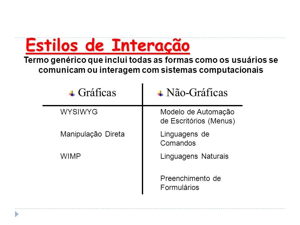 Estilos de Interação Termo genérico que inclui todas as formas como os usuários se comunicam ou interagem com sistemas computacionais Preenchimento de