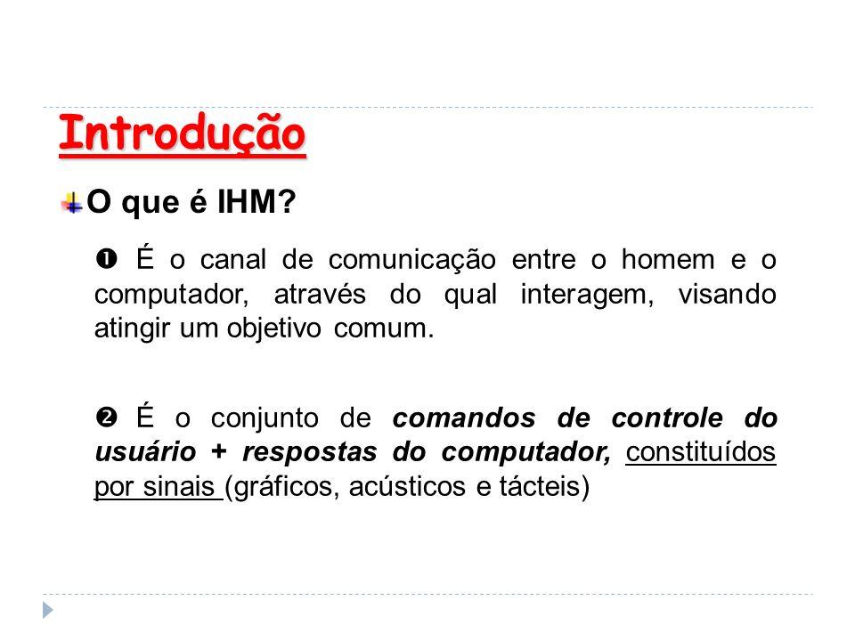 Introdução O que é IHM? É o canal de comunicação entre o homem e o computador, através do qual interagem, visando atingir um objetivo comum. É o conju